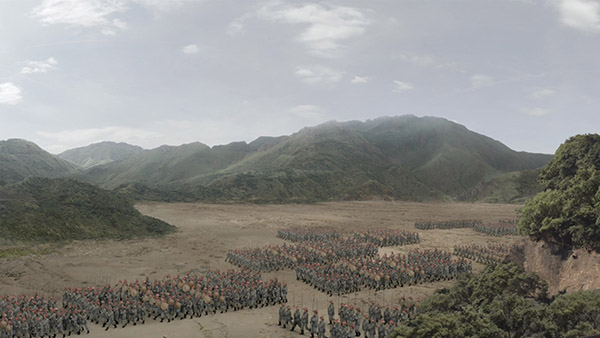 cg crowd with matte painting background