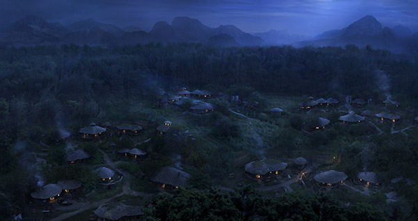 moon light shine on a hidding village matte painting