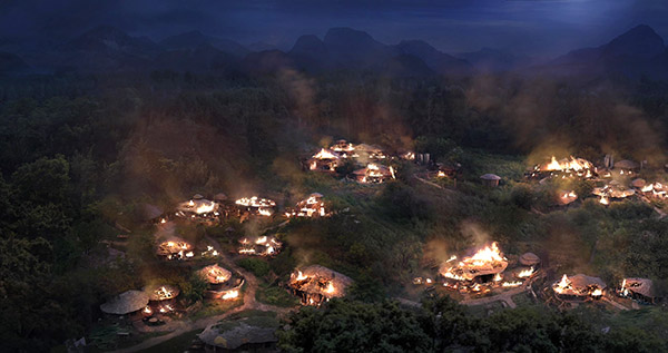 A village in mountain burning visual effect