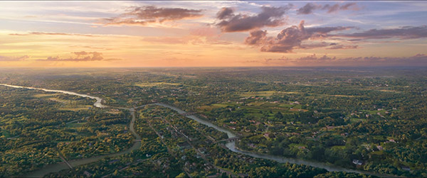 Sunset Boston 1800 aerial matte painting